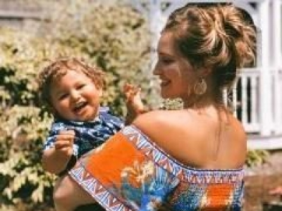 Host Jessica Ashley, and son